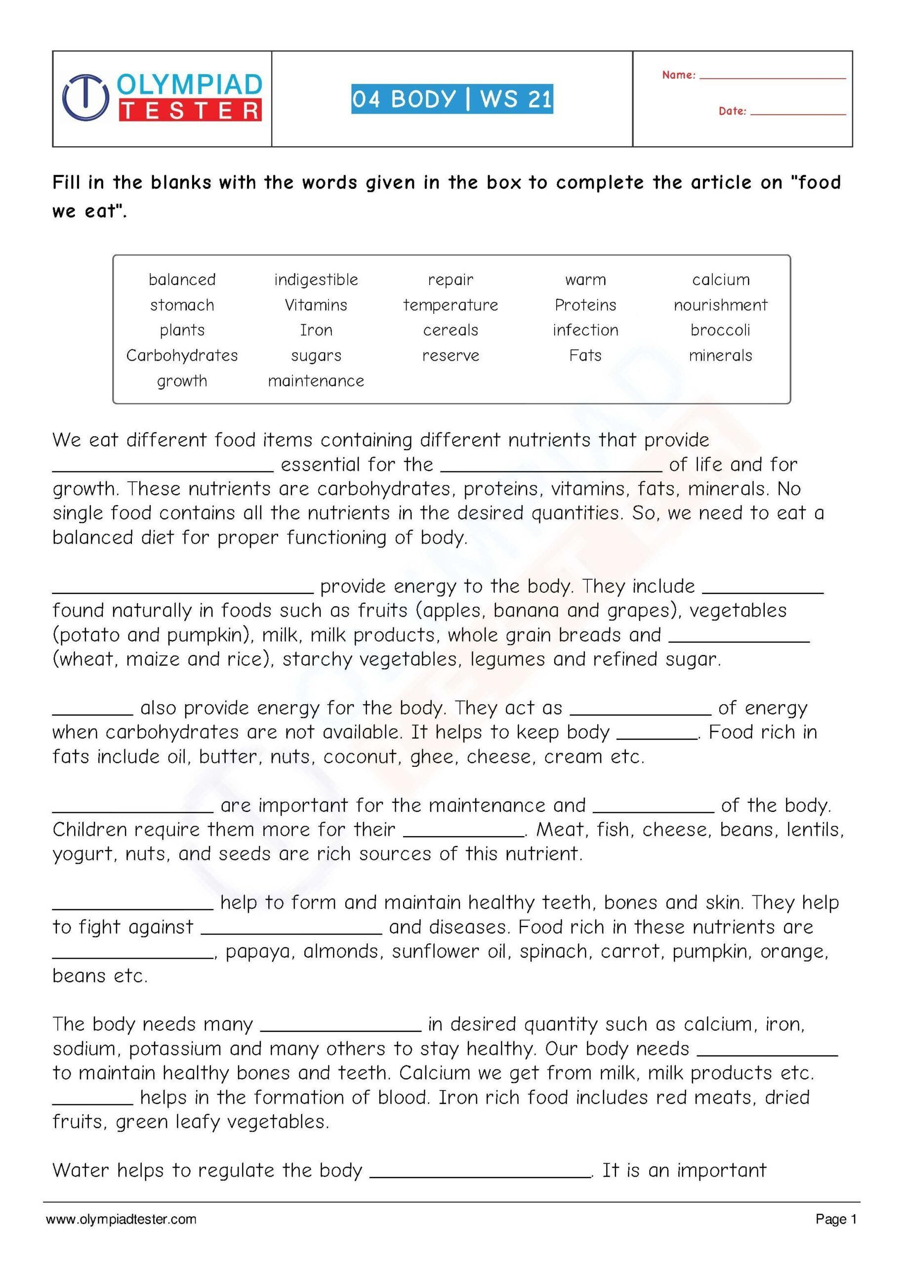 Incredible Human Machine Worksheet Answers 7 Grade