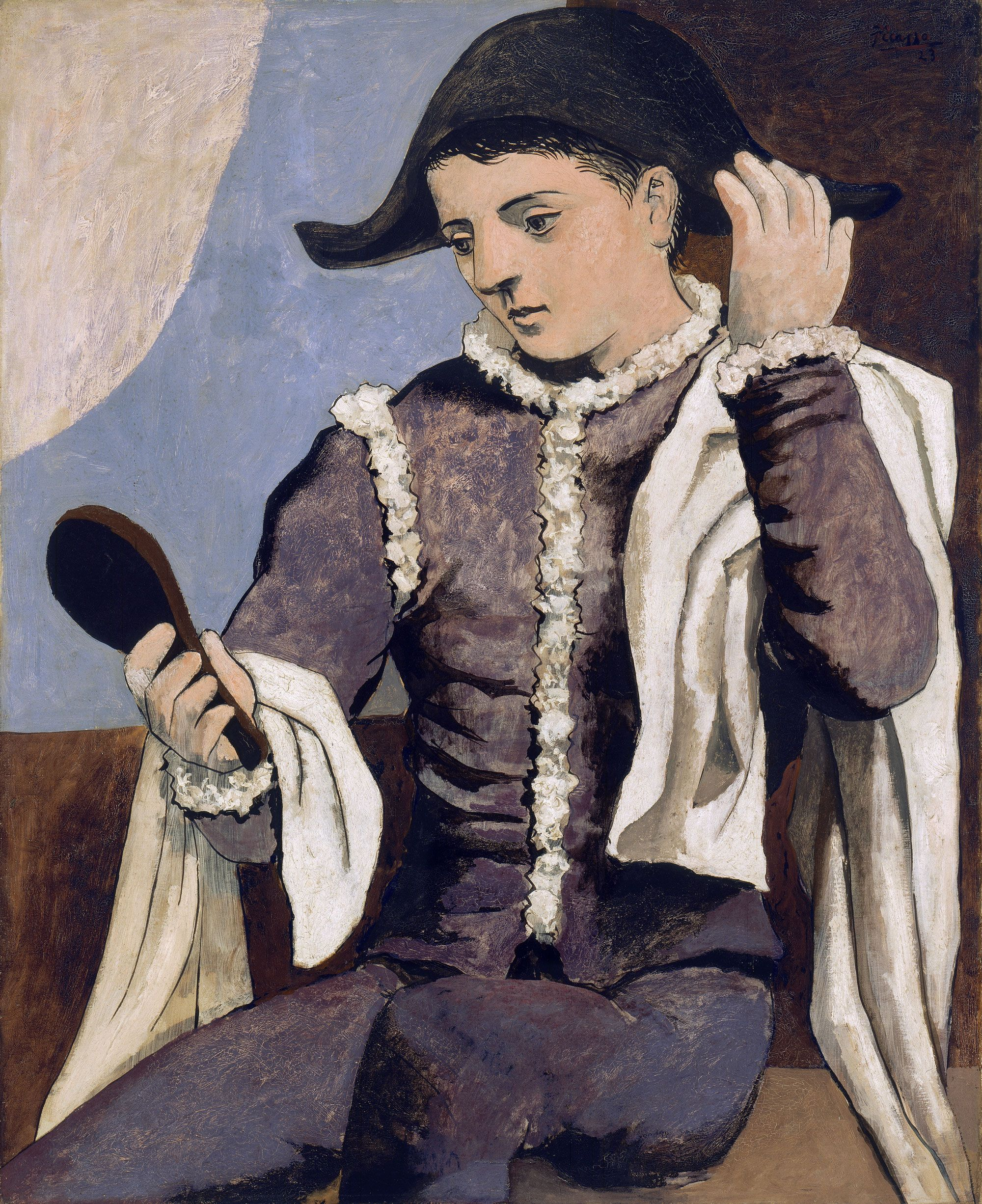 Harlequin with a Mirror - Pablo Picasso (1923) | Museo Thyssen ...