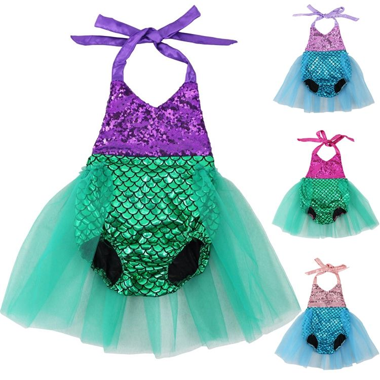 Cute Newborn Baby Girl Mermaid Romper Jumpsuit Bodysuit Backless Clothes Outfits