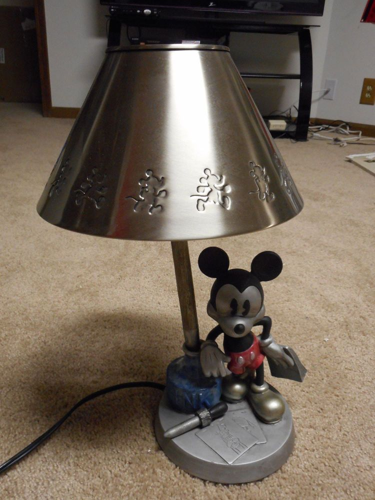 Mickey Mouse Disney Inkwell Hampton Bay Desk Table Lamp Metal Shade Great  Shape #HamptonBay