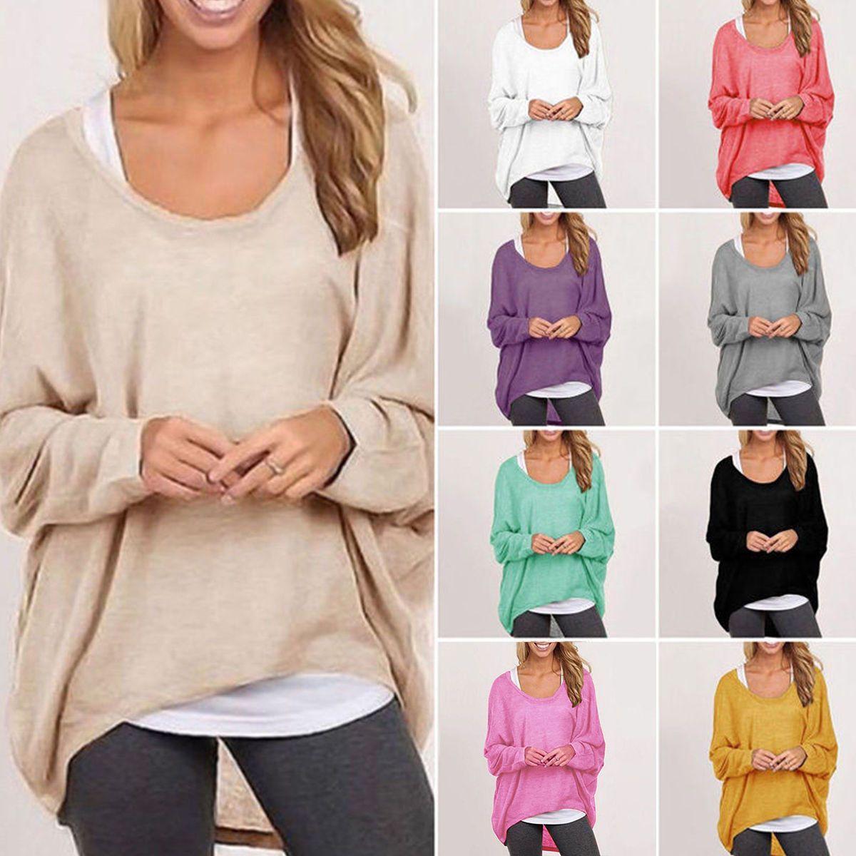 635d1cd898d3 Oversized Women Ladies Loose Long Sleeve Shirt Blouse Baggy Pullover Tops  Jumper