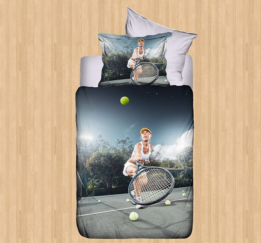 Tennis Bedding Sets Single Size  Luxury 3D Tennis Duvet Covers Single Size  4 Pieces. Tennis Bedding Sets Single Size  Luxury 3D Tennis Duvet Covers