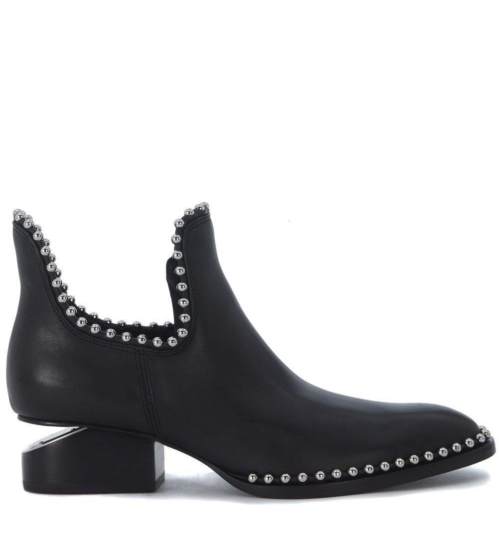 ALEXANDER WANG TRONCHETTO ALEXANDER WANG KORI IN PELLE NERA CON DETTAGLI IN METALLO. #alexanderwang #shoes #