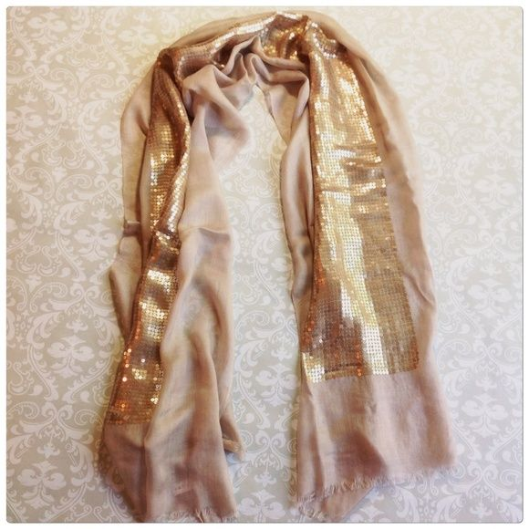 """GOLDEN SEQUIN SCARF Sheer tan acrylic with sequins.  Long 102"""" x 24"""" wide Accessories Scarves & Wraps"""