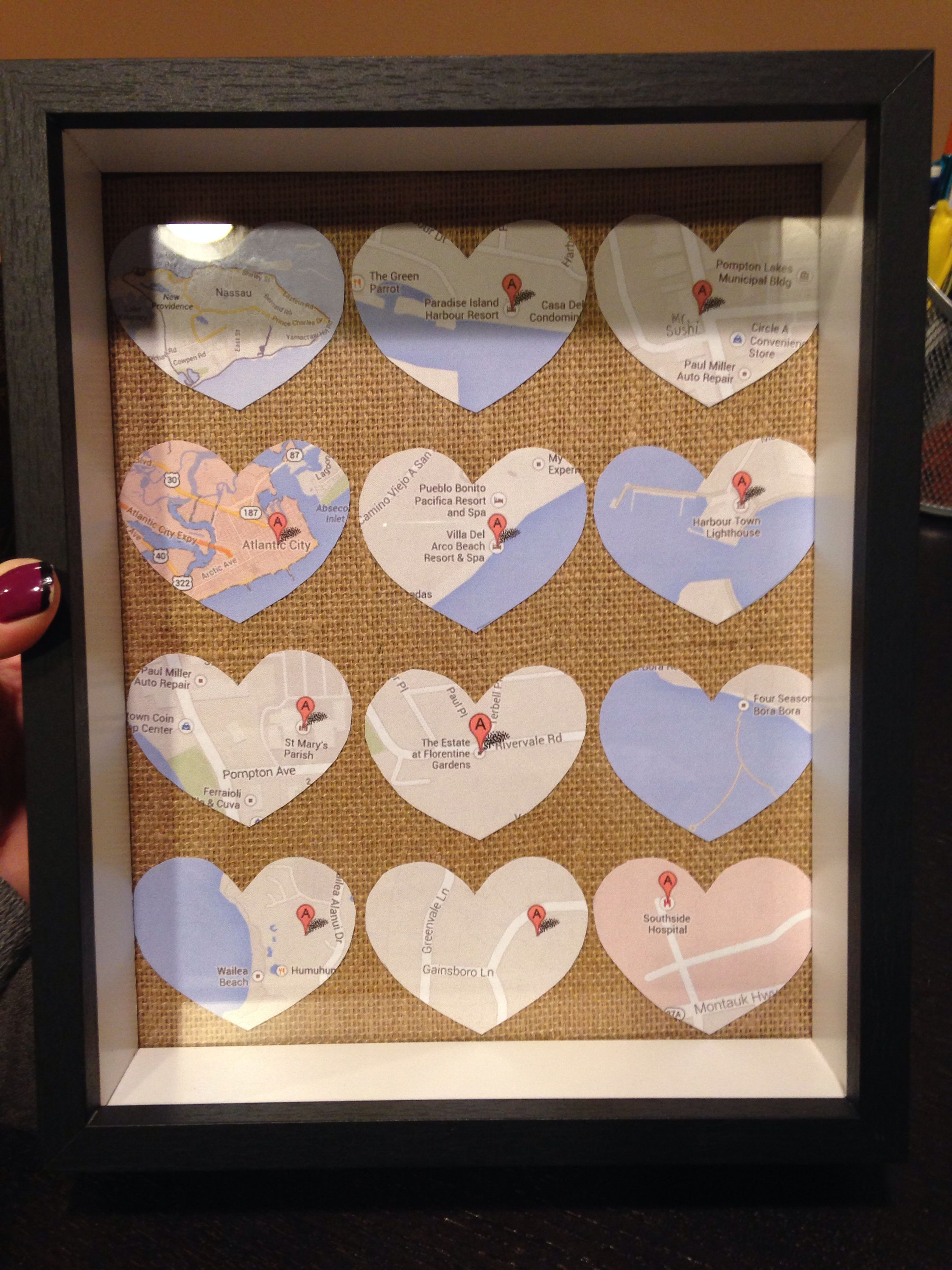 One Year Wedding Anniversary Idea Is The Of Paper Map Where We Met Our First Kiss