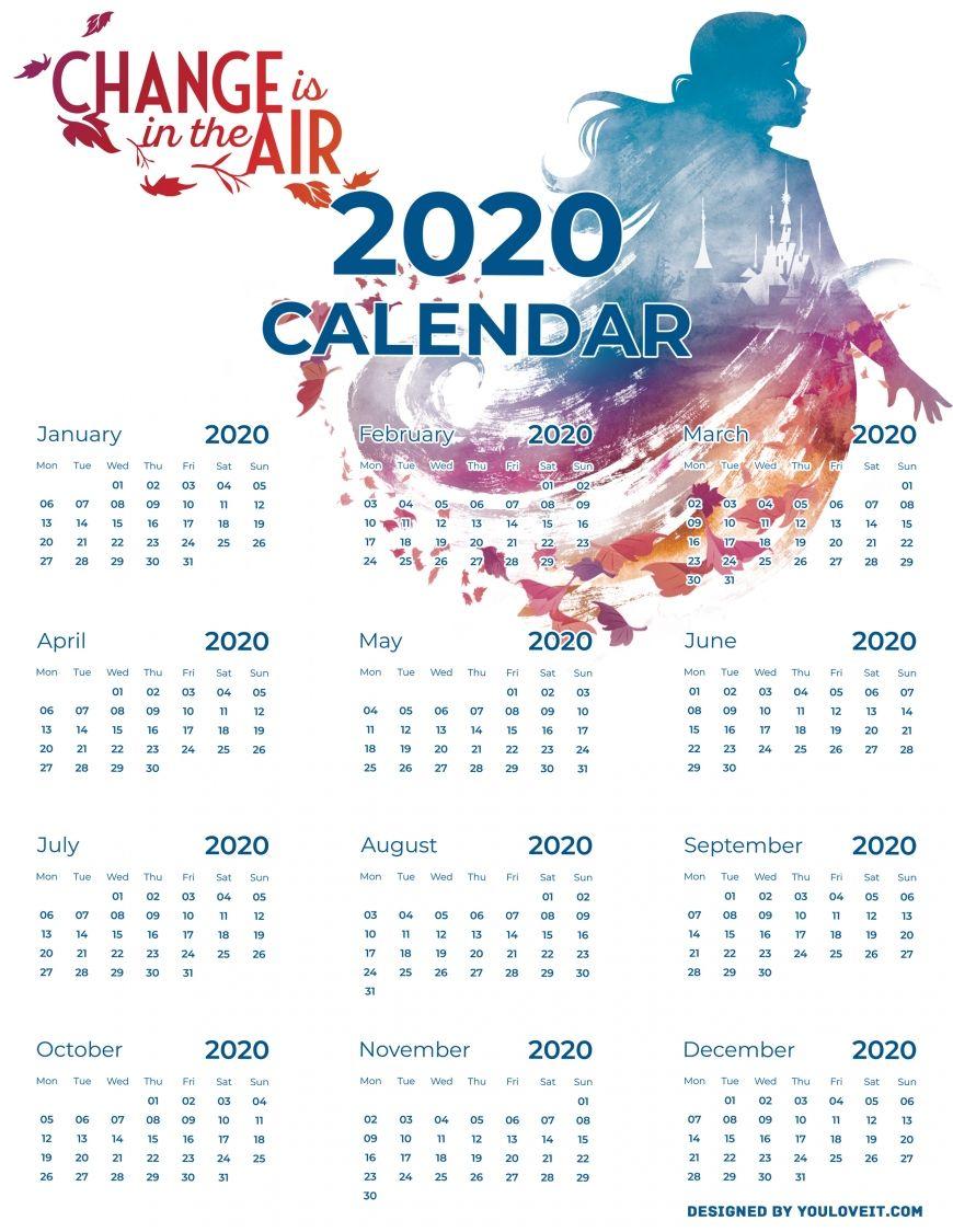 Frozen 2 free printable calendars 2020 in 2020 Calendar