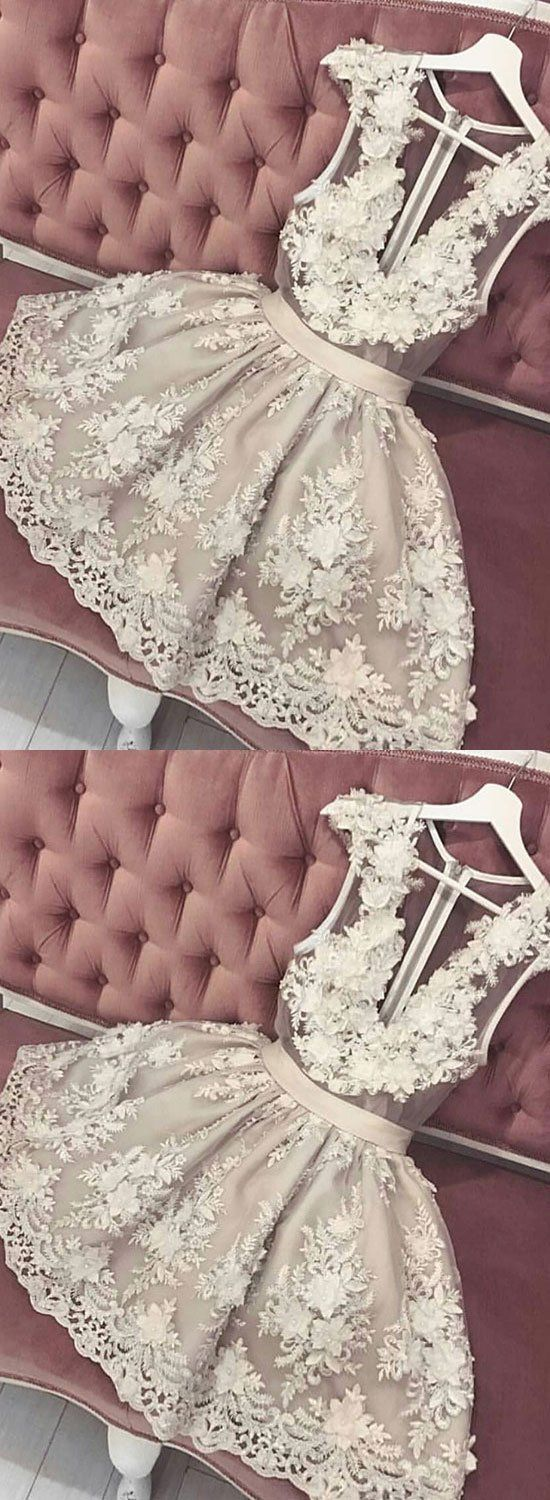 Cute lace v neck short prom dress homecoming dress prom and