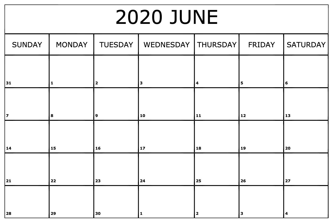 Printable Calendar June 2020.June 2020 Calendar Printable Monthly Calendar Template