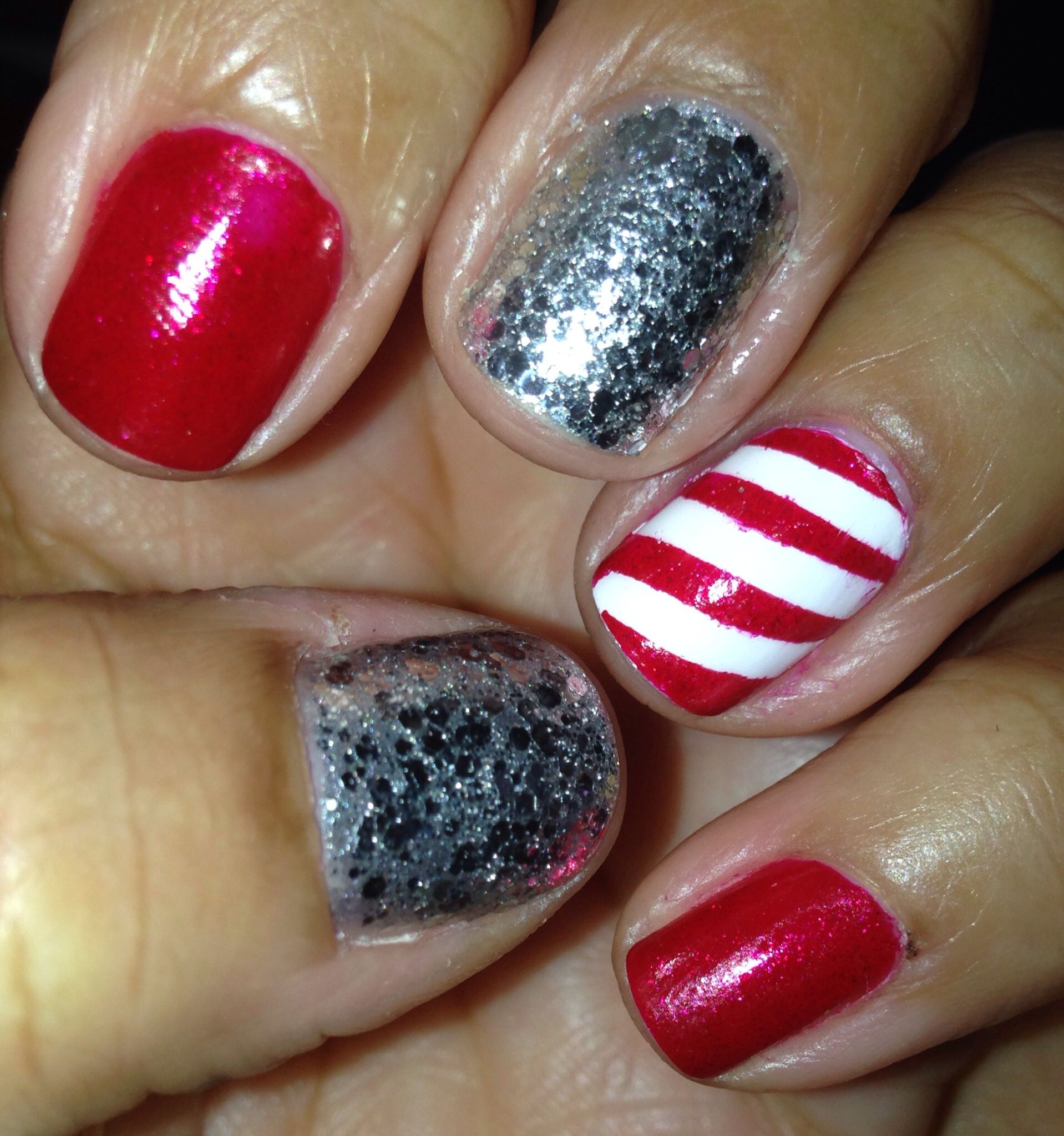 Red, Candy Cane & Bling Nail designs, Nails, Candy cane