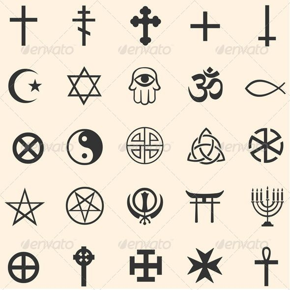 Vector Set Of Religious Symbols Vector Set Of Religious Symbols