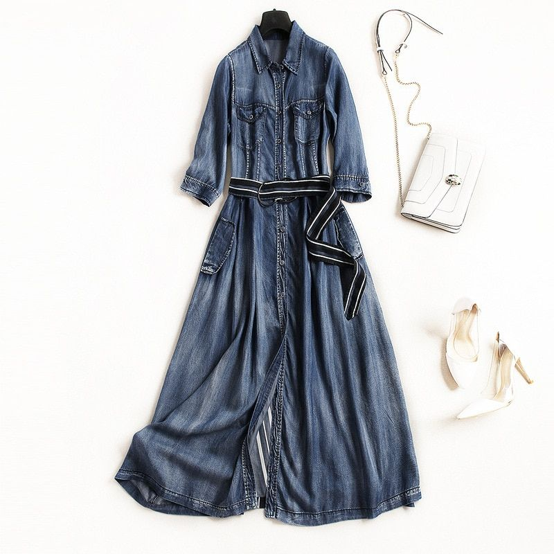 b097db055571 Jeans a line dress 2018 new runway women summer dress high quality office  lady single breasted