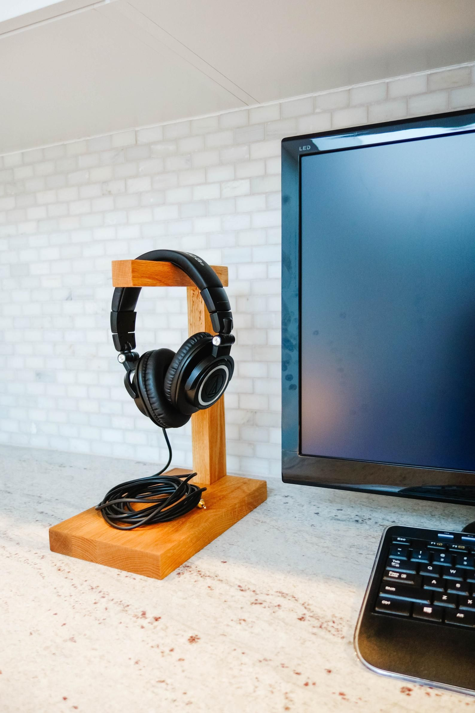Wood Headphone Stand The Classic Headphone Holder Etsy