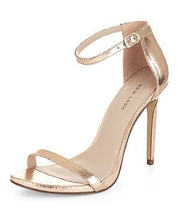 a1d7bf46002 Bronze Leather Ankle Strap Heels
