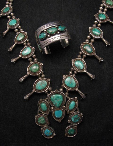 Heavy Vintage Native American Navajo Turquoise Squash Blossom Necklace Bracelet