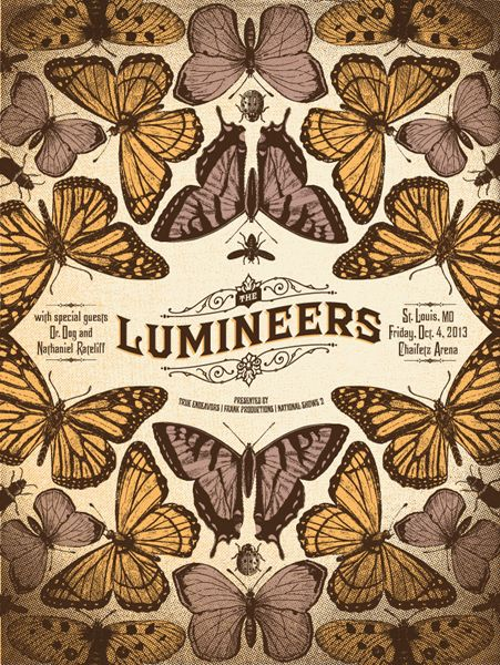 GigPosters - Lumineers, The - Dr Dog - Nathaniel Ratecliff - concert tickets design