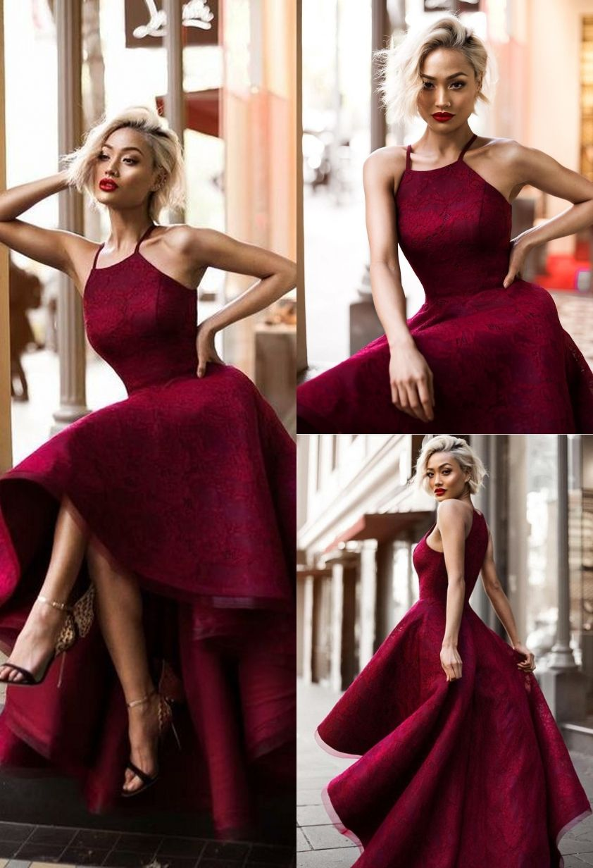 67fe2c89489 2019 的 A-Line Halter High Low Sleeveless Burgundy Lace Prom Dress ...