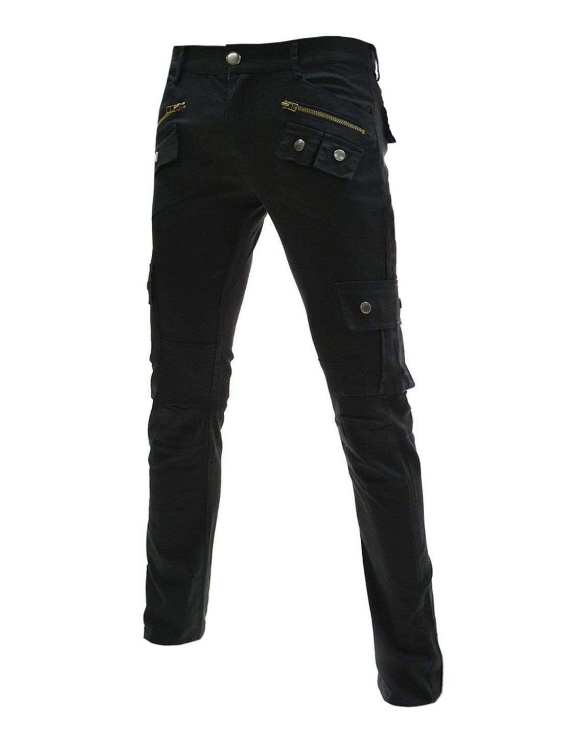 men's slim fit cargo pants black