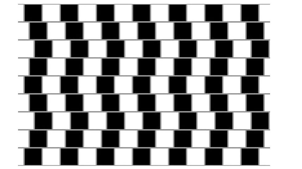 Esas líneas grises horizontales son todas ellas paralelas. No te lo parece, ¿verdad? Pues es tu cerebro que te engaña