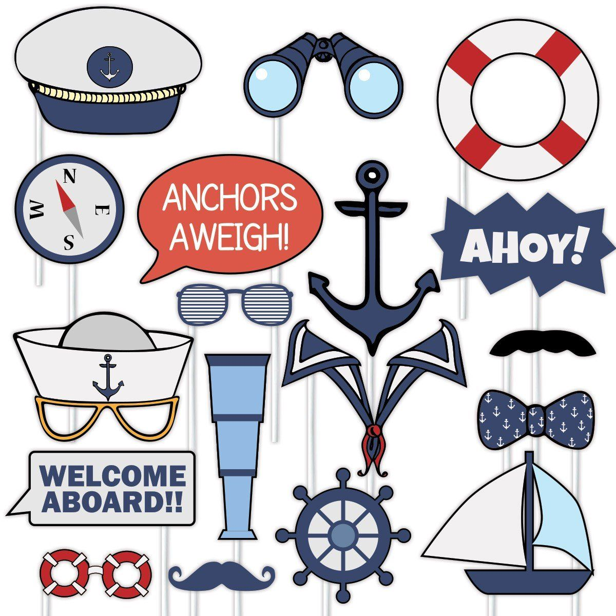 Nautical Photo Prop Sets 32 Pieces