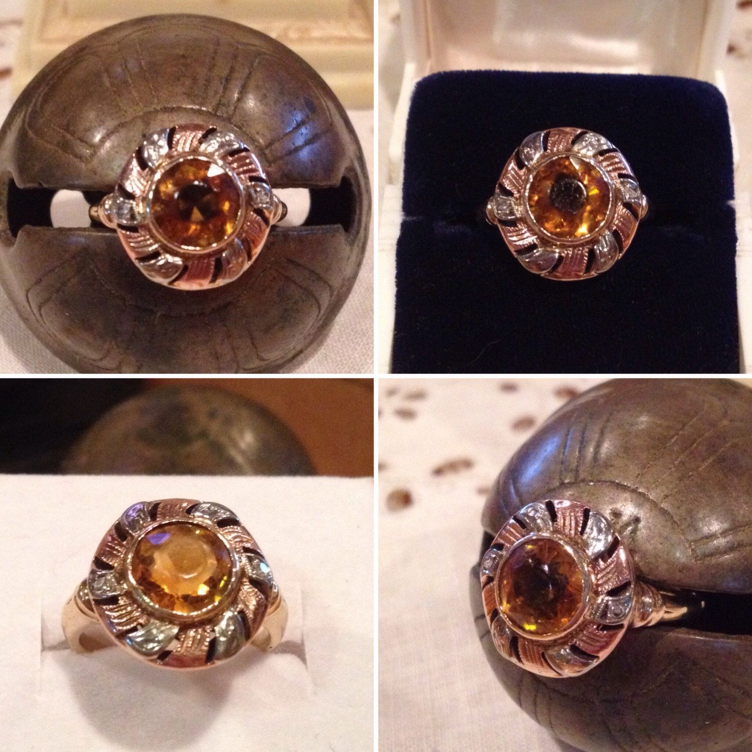 Antique 14k Tri colored gold Round Halo/Crown Citrine & accent Diamond Ring   Size 4 1/2   Faceted 8mm bezel set Citrine Halo ring by DLaboldsvintagefinds on Etsy https://www.etsy.com/listing/492230495/antique-14k-tri-colored-gold-round