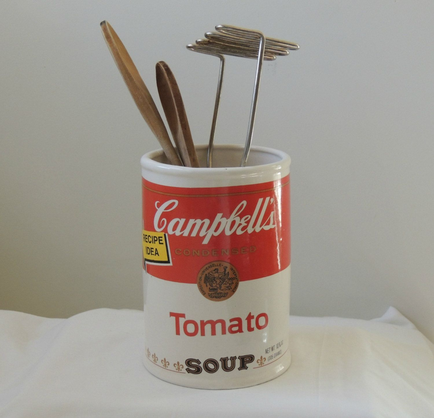 Campbell Kitchen: Vintage Campbell's Soup Ceramic Canister Vase / Container