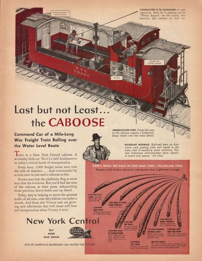 1943 New York Central Railroad Caboose Diagram Vintage Color Art