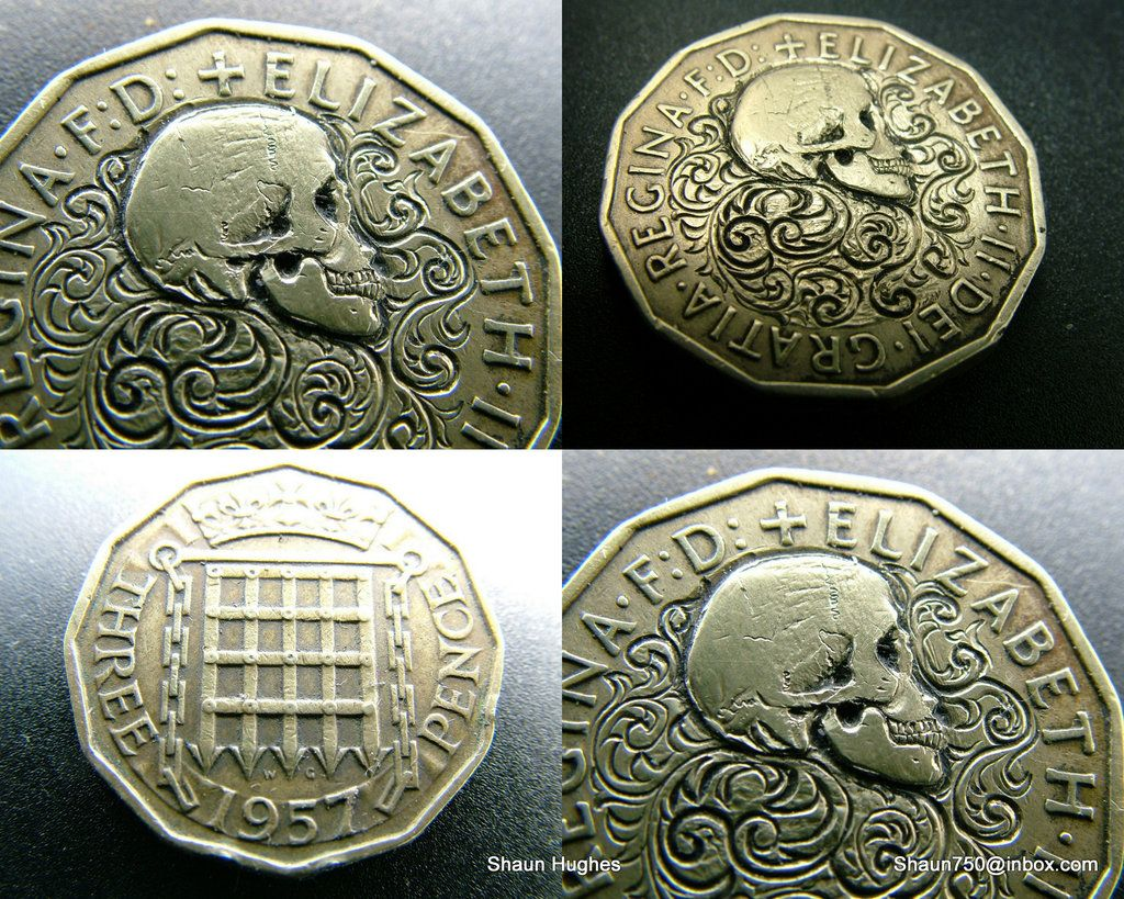 Love Token Hobo Nickel English Queen Skull Scrolls by shaun750
