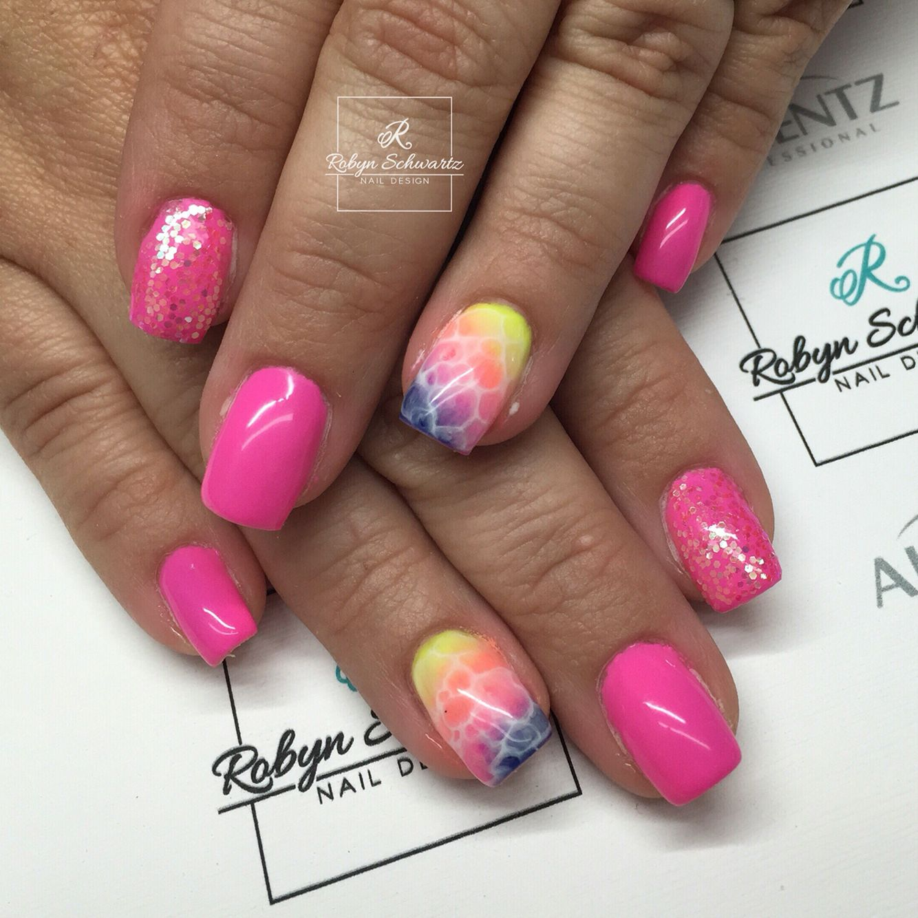 Neon pink gel nails, rainbow nails, glitter nails   Nail Art ...