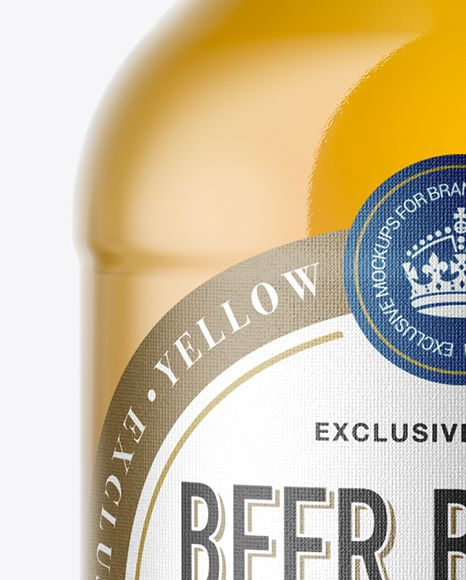 330ml Clear Glass Bottle with Lager Beer Mockup  Close-Up