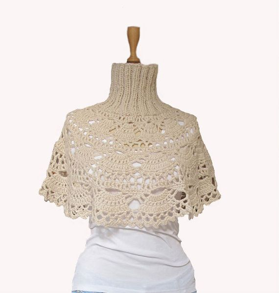 crochet fan capelet with knitted rib neck | Design: Wrap, Cape ...