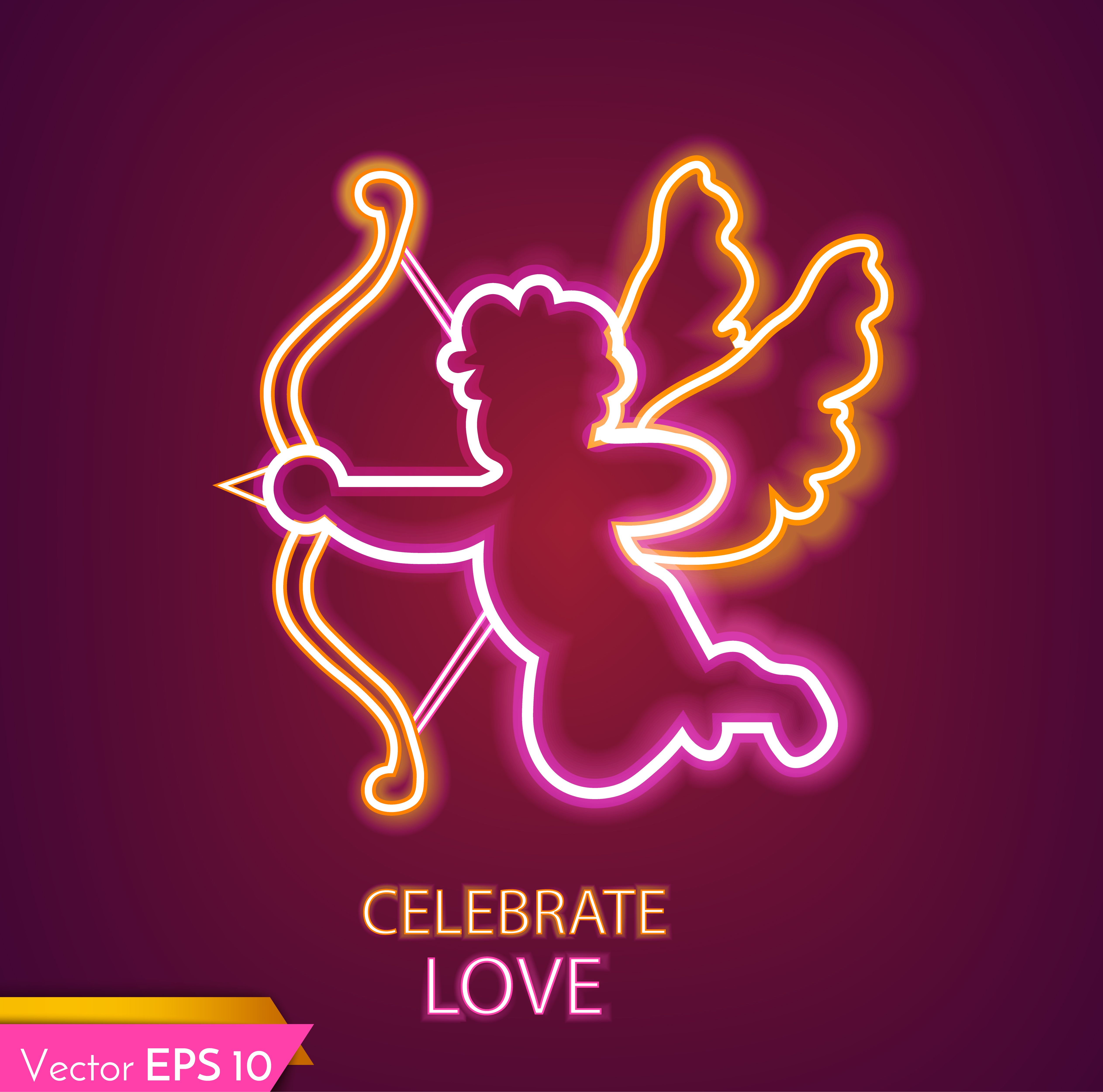 Cupid card neon light Vector realistic. Valentine day