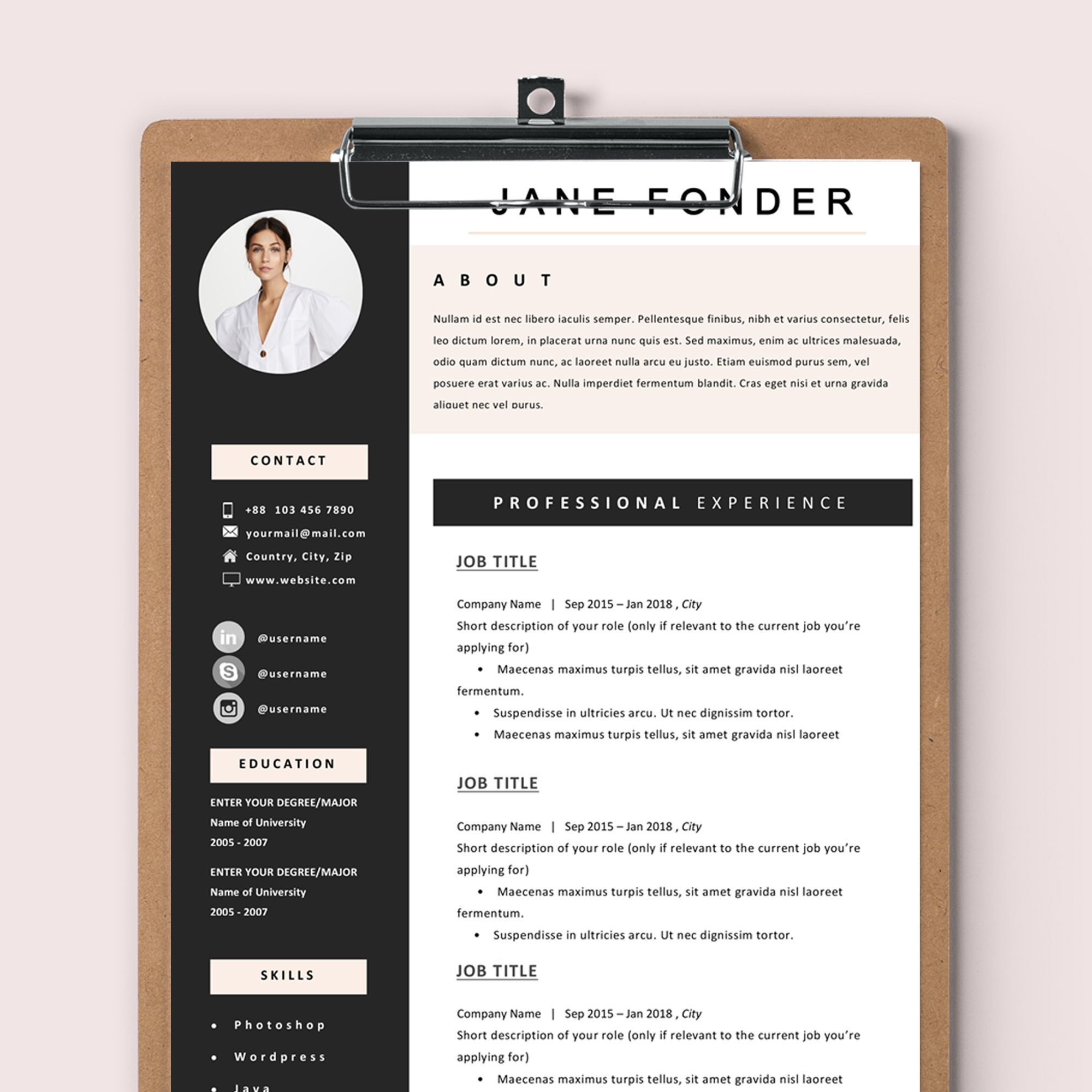 5 Things To Check Before Submitting Your Cv To A Fashion Company Creative Cv Template Creative Cv One Page Resume Template