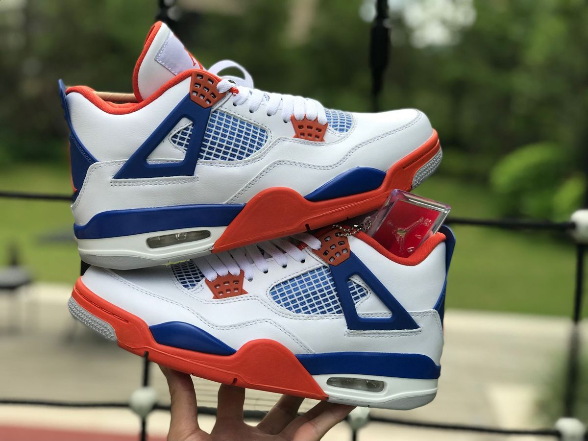 low priced d2a1b 271fd 2018 Air Jordan 4 Custom White/Game Royal-Orange 308497-171 ...