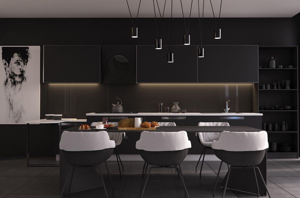 peinture noir mat cuisine sans poign e cr dence en verre et table manger assortie cuisines. Black Bedroom Furniture Sets. Home Design Ideas