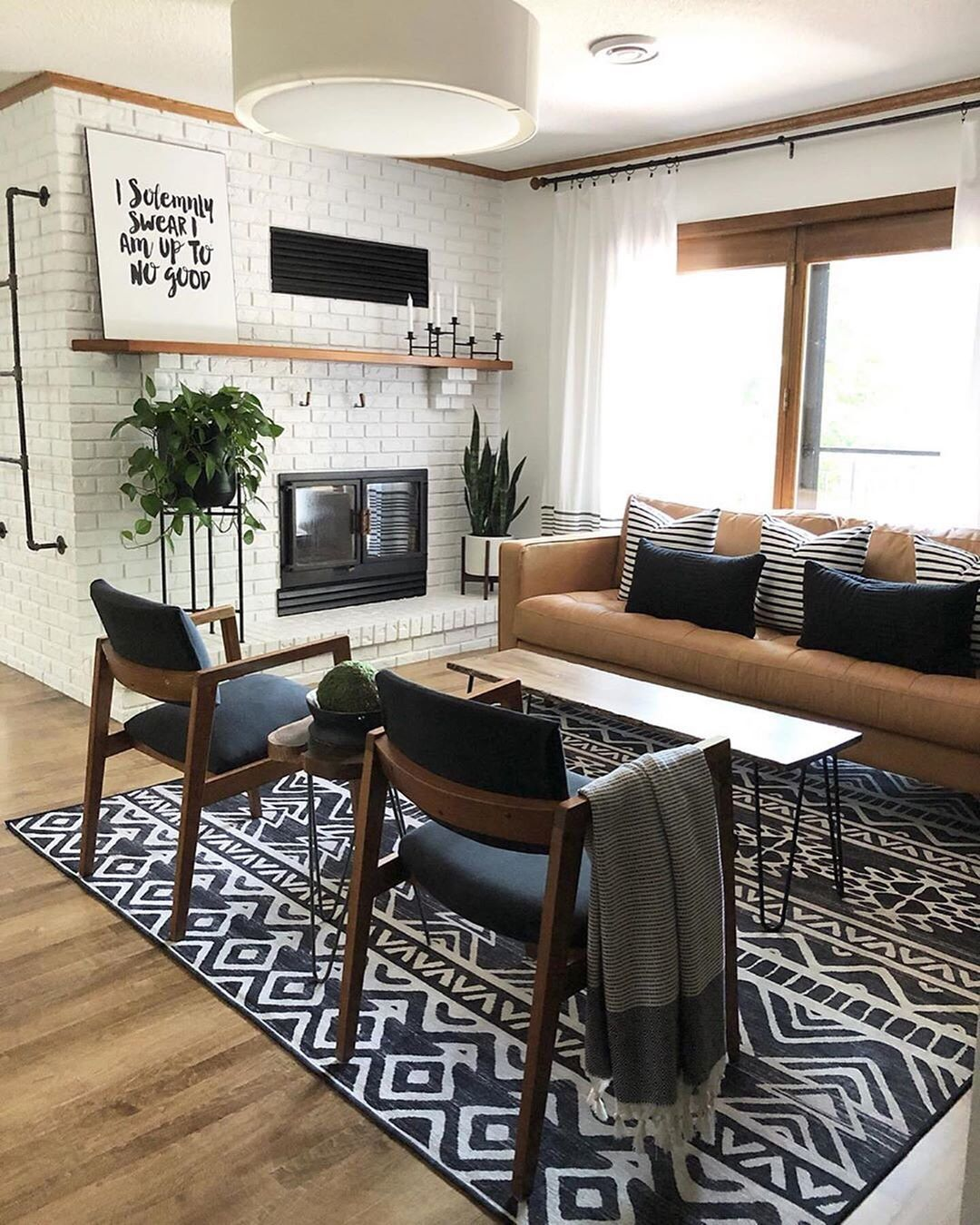 Ruggable On Instagram Before And After Goals By Katechipinski Rug Linear Aztec Black Living Room Without Tv Aztec Home Decor Living Room Inspiration #no #rugs #in #living #room