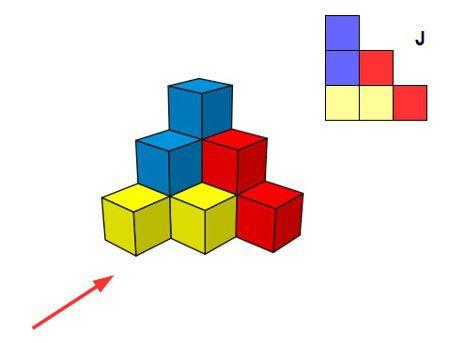 Triángulo de cubos: izquierda