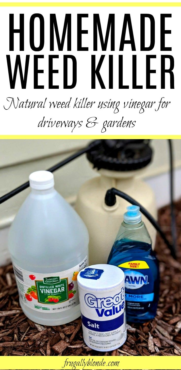 Tired of weeds? Try out this cheap & easy DIY weed killer. Easily kills off grass and weeds on sidewalks, gardens, and driveways. Say goodbye to weeds for good with this simple homemade weed killer. via @juliefrugally