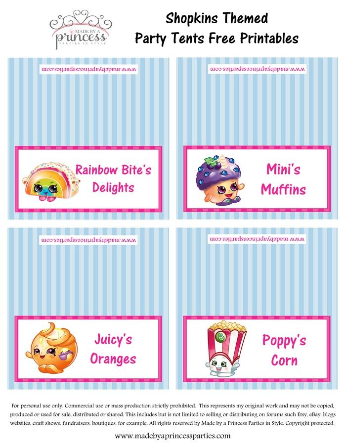 image regarding Free Printable Shopkins Food Labels called Shopkins Encouraged Food stuff Tents No cost Printables Fixed 2 Built by means of a