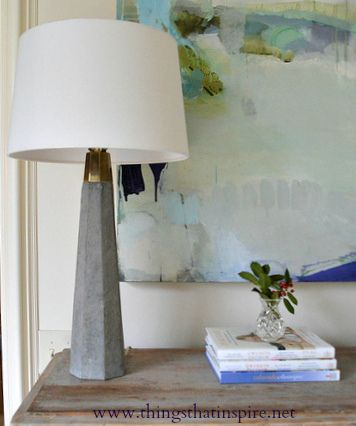 Things that Inspire's shared photo... clean-lined lamp and a lovely painting!