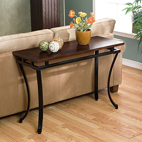 Upton Home Practical Sofa Table With Curved Metal Legs And Attractive Espresso Finish Want To Know More Muebles Madera Maciza Muebles De Metal Muebles Hogar