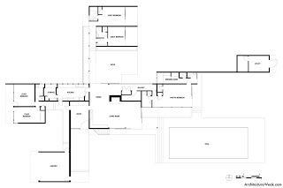 kaufmann desert house ground floor plan  MidCentury Modern  Richard Neutra  Kaufmann House  Dessin architecture Architecture Esquisse