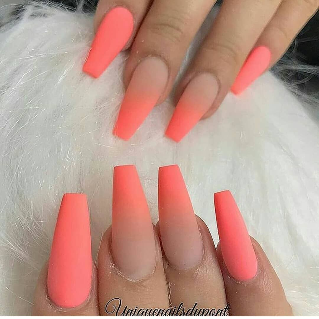 Follow Us Amazing Nailsclips Amazing Nailsclips Nails Nailart Coffinna Coffinnails Coral Ombre Nails Glitter Coral Nails Acrylic Nails Coffin