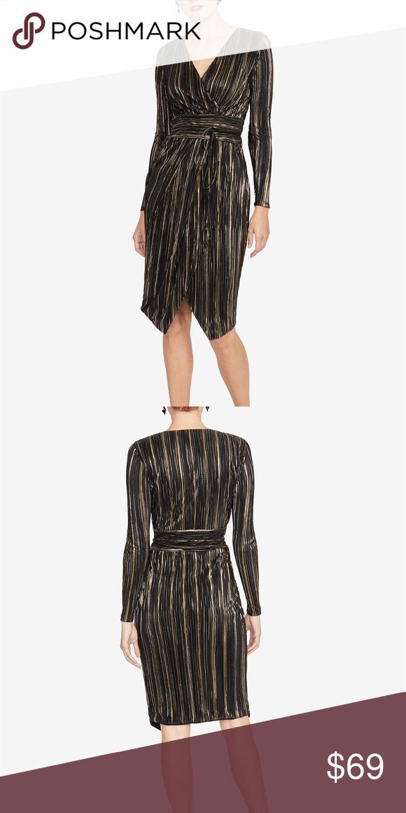 e1344057602 RACHEL Rachel Roy Pleated Faux-Wrap Dress RACHEL Rachel Roy reinvents this  long-sleeve