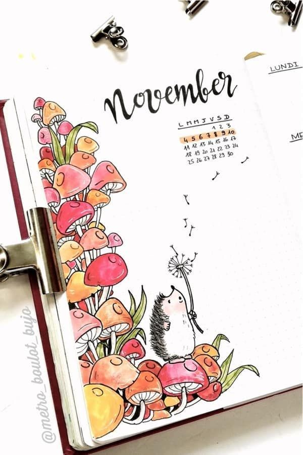 Check out the best mushroom themed bullet journal spreads and ideas for inspirat… - Pin Hairs
