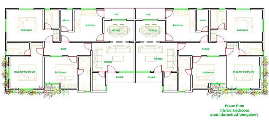 Awesome 2 Bedroom Semi Detached House Plans Photos Best Image 3d Bungalow Floor Plans How To Plan House Plans
