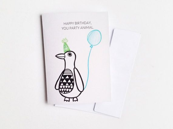Funny Penguin Birthday Card Penguin Card Penguin Birthday Card