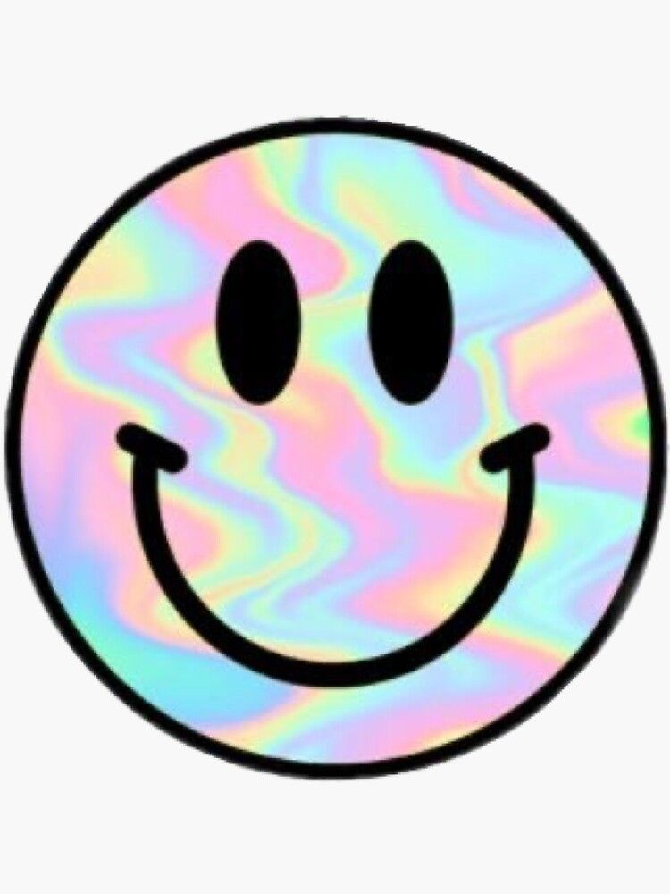Holo Smiley Face Sticker By Glitteryhearts Redbubble In 2020 Face Stickers Print Stickers Snapchat Stickers