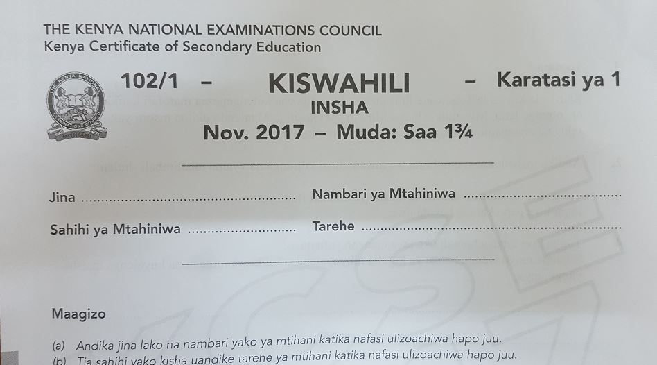 KCSE Kiswahili Paper 1 2017 Exam questions with Answers