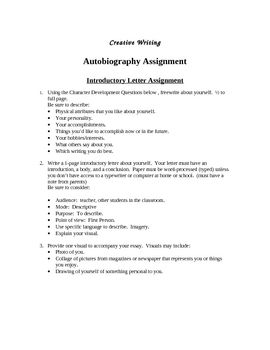Autobiography Creative Writing Project  Writing Assignments
