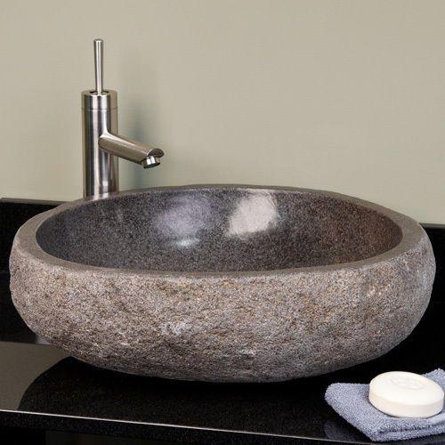 Large River Stone Vessel Sink - Dark Gray River Stone 卫生间